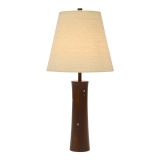 Turned Walnut and Tile Table Lamp by Gordon and Jane Martz For Sale