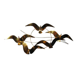1970s Vintage Soaring Seagulls Brass Wall Sculpture For Sale