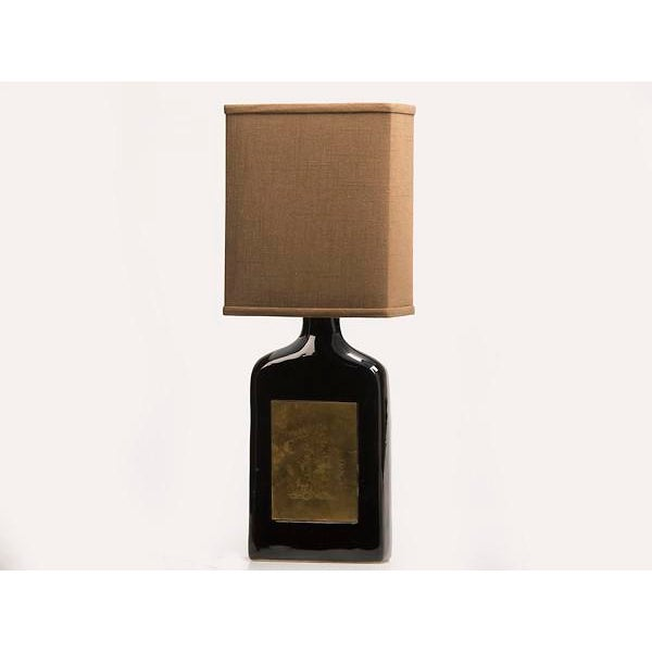 Glazed Ceramic Bottle, Etched Brass Panels, France c.1960, Custom Lamp and Shade.