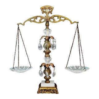 Vintage Ornate Cut Crystal Prism Brass & Marble Scales of Justice