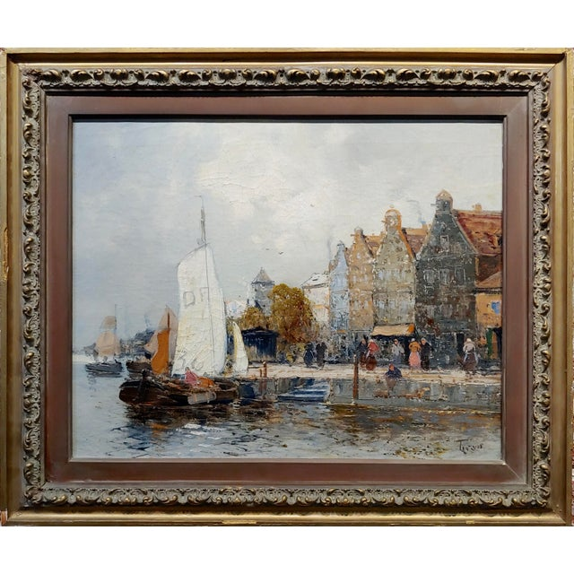 Old Amsterdam with Boats - 19th century Dutch Impressionist oil painting oil painting on canvas -Signed circa 1890/1900s...