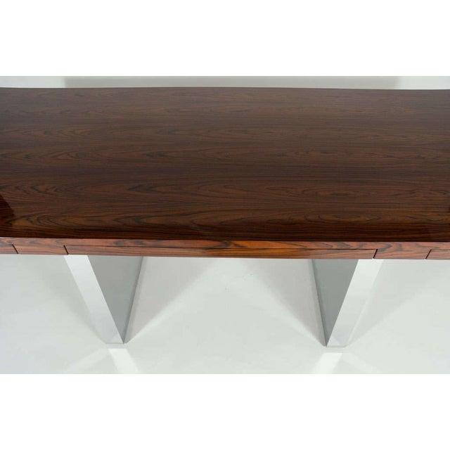 Roger Sprunger for Dunbar Rosewood & Chrome Executive Desk For Sale - Image 9 of 10