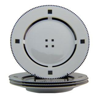 """Swid Powell Gwathmey Siegel Tuxedo Black 12"""" Dinner Charger Plates - Set 4 For Sale"""