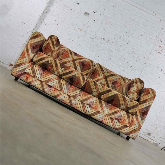 Mid-Century Modern Tuxedo Mod Loveseat Sofa in Jack Lenor Larsen Style Fabric For Sale - Image 3 of 13