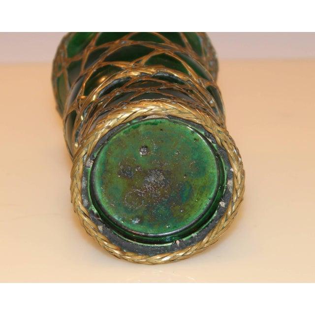 1910s Antique Awaji Pottery Gu Form Vase Brass Weaving For Sale - Image 5 of 10