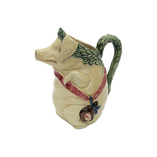 Early 20th Century Antique Majolica Satyrical Pig W/ Ham Jug For Sale - Image 5 of 5