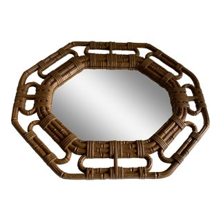 Vintage Boho Bamboo Design Resin Wall Mirror For Sale