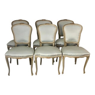 Louis XV Silk Upholstered Antique Swedish Dining Chairs- Set of 6 For Sale