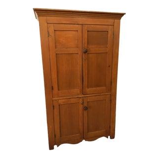 19th Century Pumpkin Pine Four Door Cupboard For Sale