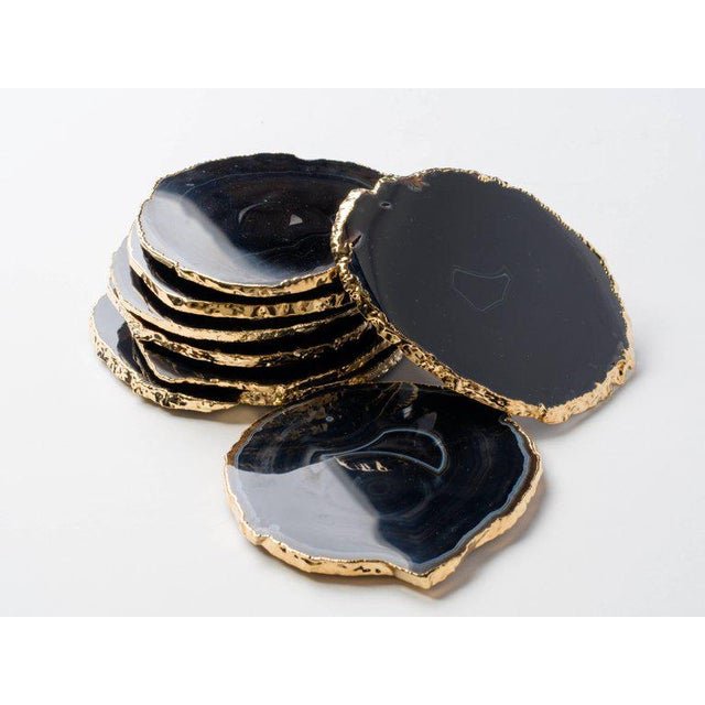 Set of Eight Semi-Precious Gemstone Coasters in Black Onyx and 24-Karat Gold For Sale - Image 13 of 13