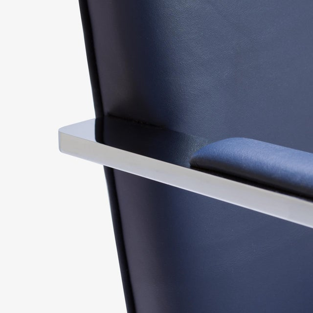 Mies Van Der Rohe for Knoll Brno Flat-Bar Chairs in Navy Leather, Pair - Image 7 of 11