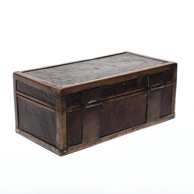 Brass Late 19th Century Chinese Brass and Lacquered Wood Storage Box For Sale - Image 8 of 9