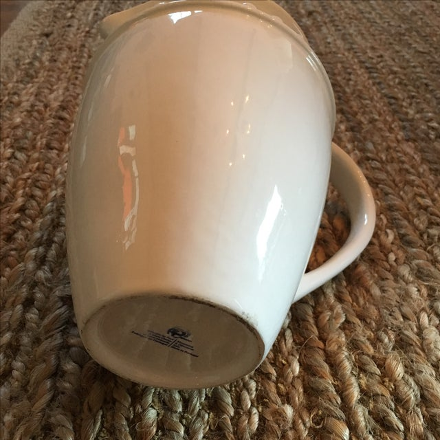 White Ceramic Pitcher With Dot Detail and Handle For Sale - Image 5 of 5