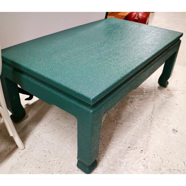 Linen Wrapped Asian Style Coffee Table - Image 3 of 6