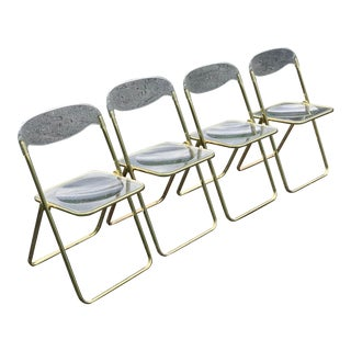 Giancarlo Piretti Style Brass Folding Chairs- Set of 4 For Sale
