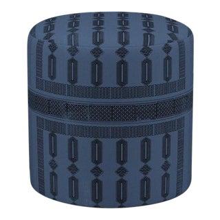 Drum Ottoman in Azul Doro For Sale