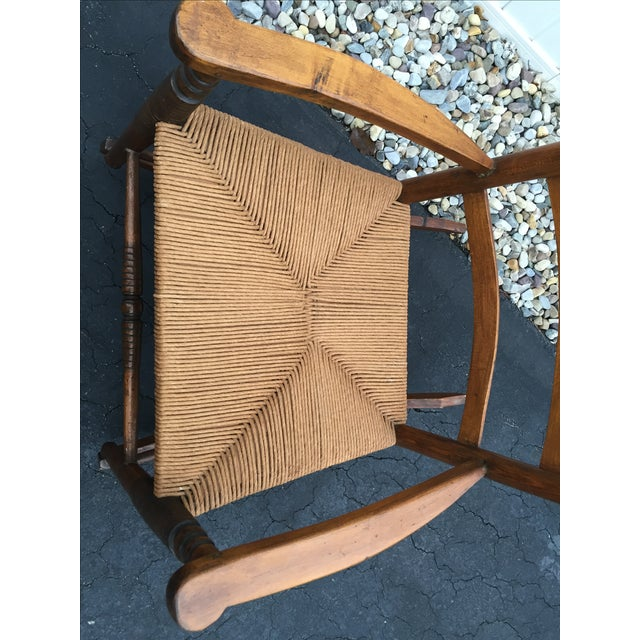 Antique Maple Rush Rocking Chair - Image 4 of 9