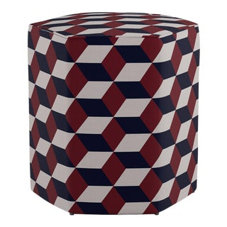Hexagonal Ottoman in Red Navy Hexagonal For Sale