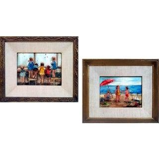 "Susan Larson ""Beach Babies"" Oil Paintings- Pair For Sale"