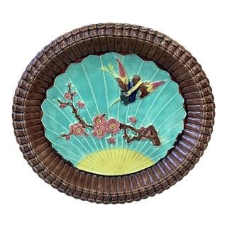 Antique 19th-Century Victorian Majolica Bird & Prunus Platter For Sale