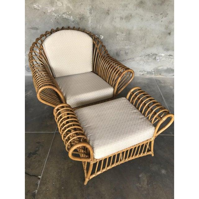 1980s Franco Albini Rattan Chair and Ottoman Set For Sale - Image 10 of 12