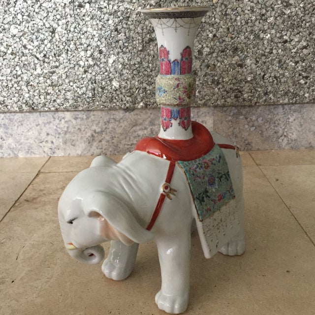 Chinese Early 20th Century Chinese Export Famille Verte and Blanc De Chine Elephant Joss Stick For Sale - Image 3 of 13