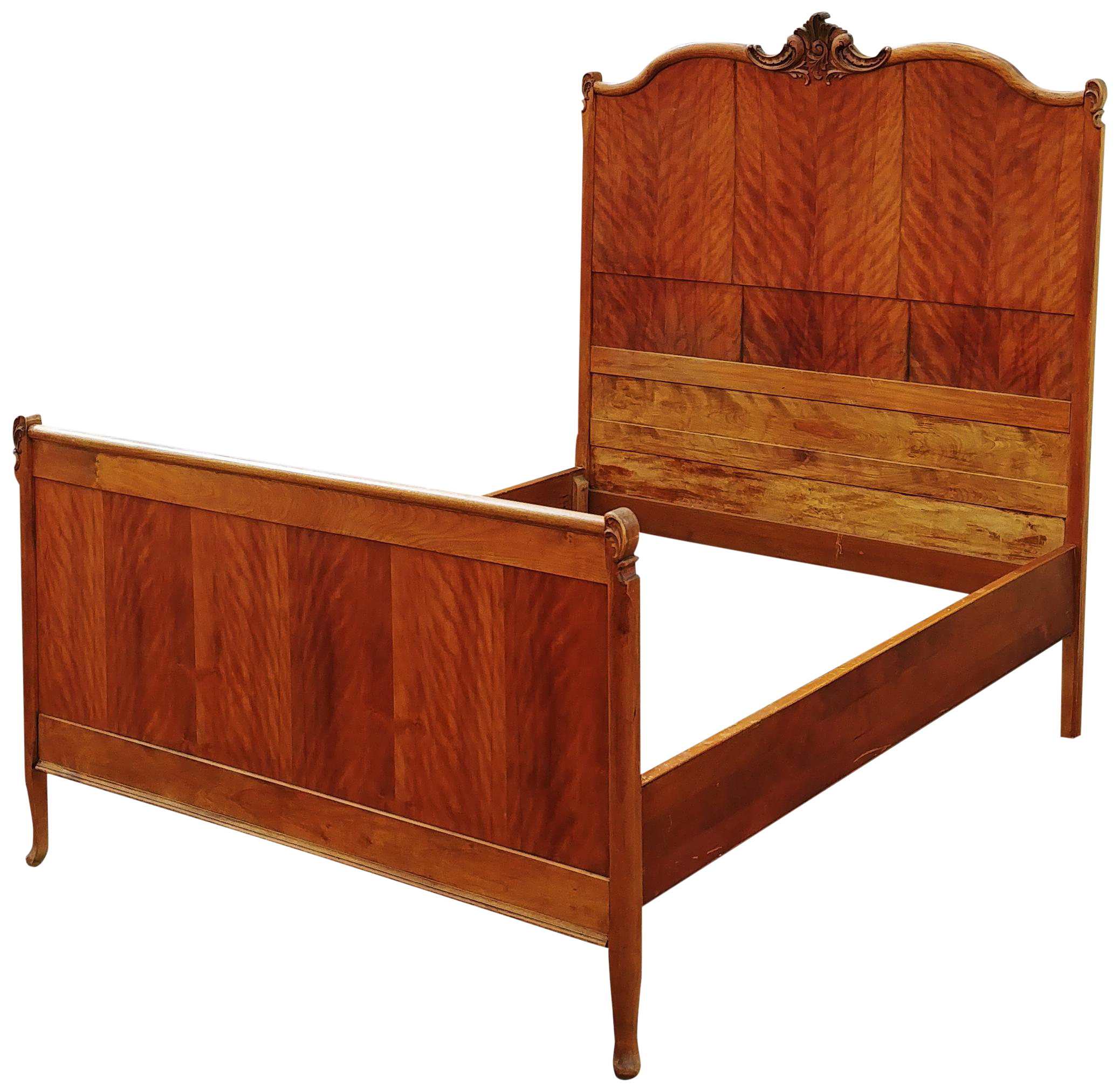 Antique Tiger Maple Full Size Hand Carved Bed