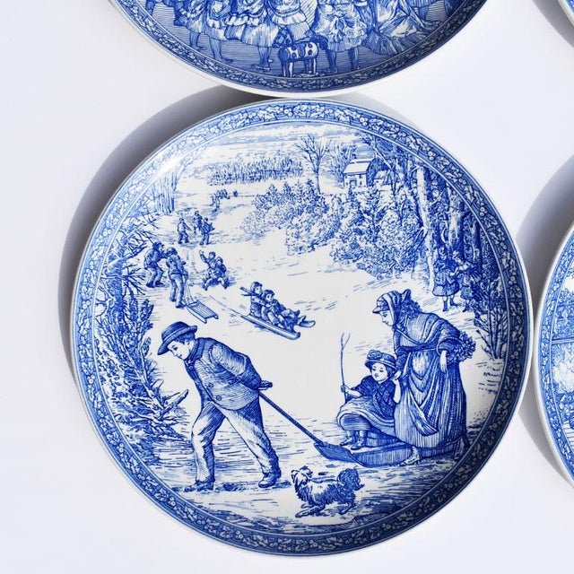 Traditional Spode Georgian Blue and White Ceramic Christmas Plates - Set of 4 For Sale - Image 3 of 12