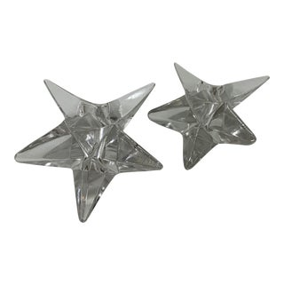 Rosenthal Crystal Star Candle Holders - a Pair For Sale
