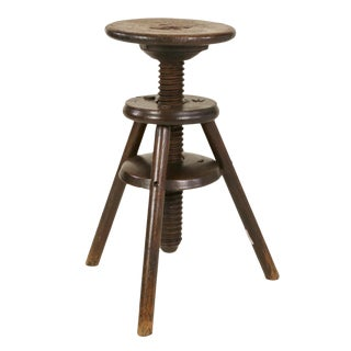 1870s English Oak Three Legged Adjustable Artist Stool For Sale