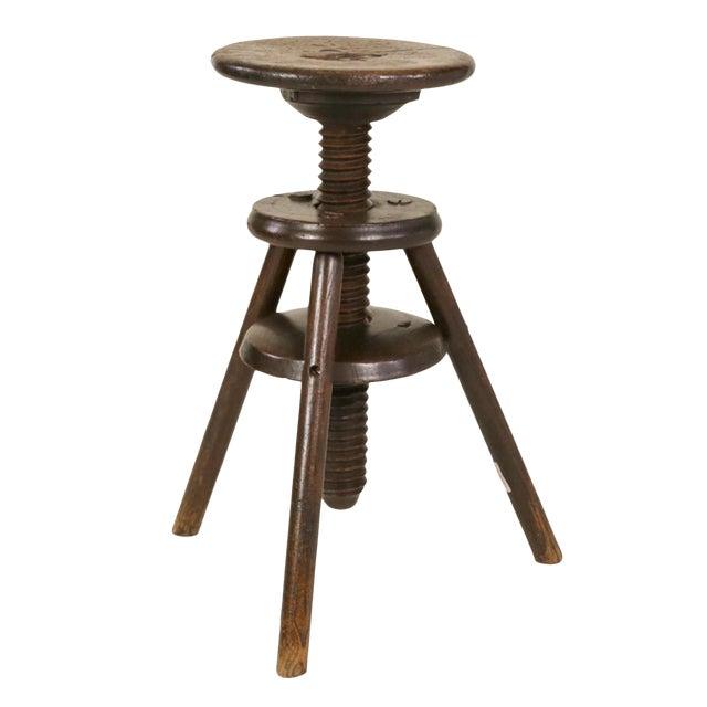 1870s English Oak Three Legged Adjustable Artist Stool For Sale