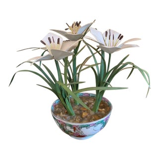 Tole Potted Flowers in Famille Rose Bowl For Sale