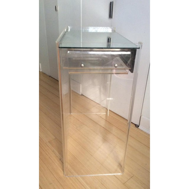 Lucite Mirrored-Drawer Vanity & Stool - A Pair - Image 7 of 13