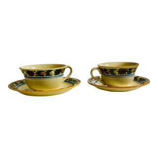 Country Style Titian Adam Ware Cups & Saucers MIX Sizers - Service for 2 For Sale