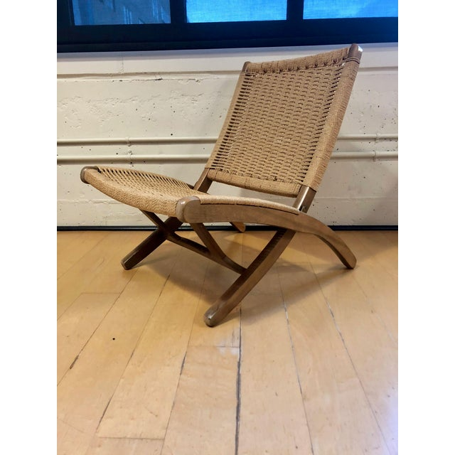 Danish Modern 1960's Danish Modern Folding Rope Chair & Ottoman - 2 Pieces For Sale - Image 3 of 10