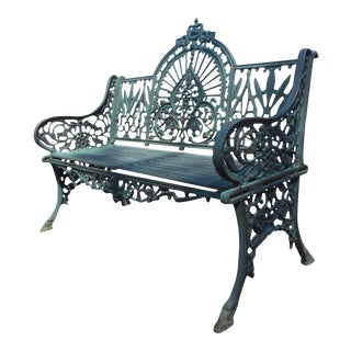 Cast Iron Bench With Arched Back For Sale