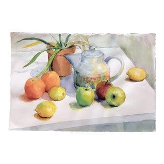 Vintage Original Still Life Watercolor With Fruit & Teapot For Sale