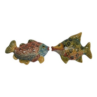 Vintage Tropical Fish Wall Decor Marked Italy - a Pair For Sale