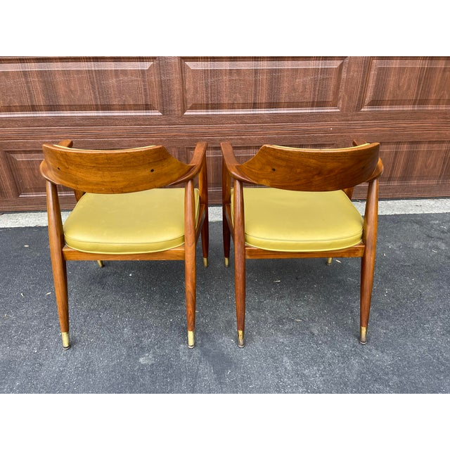 Mid 20th Century Mid 20th Century Walnut Jasper Armchairs - a Pair For Sale - Image 5 of 10