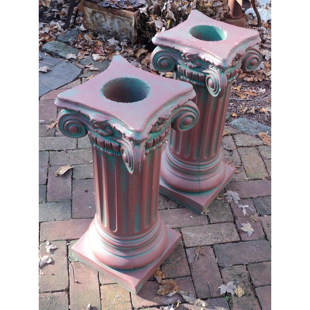 Red Antique Painted Concrete Corinthian Columns - A Pair For Sale - Image 8 of 10