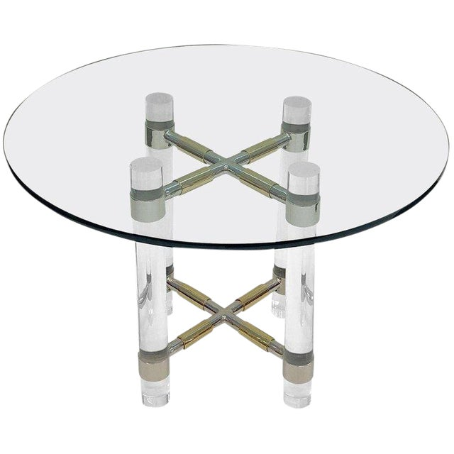 Chrome and Polish Brass Continental Height Table by Charles Hollis Jones For Sale
