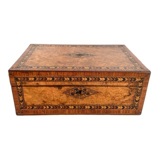 Antique English Inlaid Marquetry Writing Box For Sale