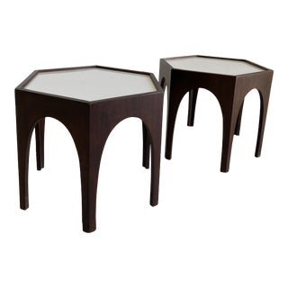 Mid Century Hexagonal Side Tables - a Pair For Sale