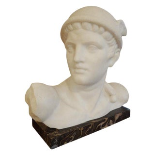 "1930s Italian ""Mercury"" Carrara Marble Bust Signed Pugi For Sale"