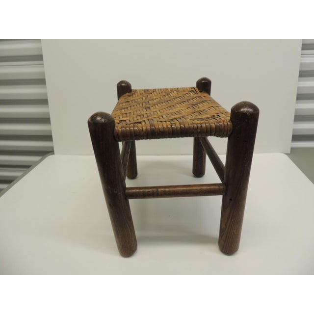 Adirondack Vintage Country Wood and Rattan Woven Seat with Four Legs Adirondack Style For Sale - Image 3 of 4