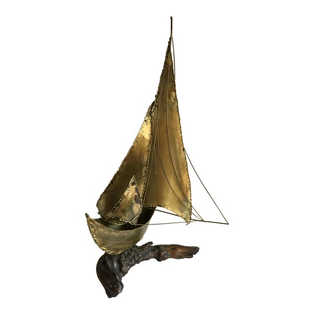 Mid-Century Sailboat on Driftwood Sculpture - Image 1 of 11