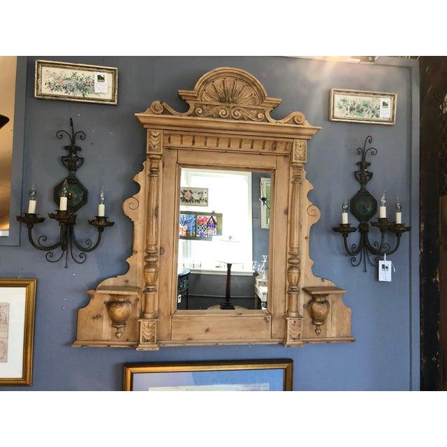Vintage Swedish Natural Carved Wood Mirror For Sale - Image 13 of 13