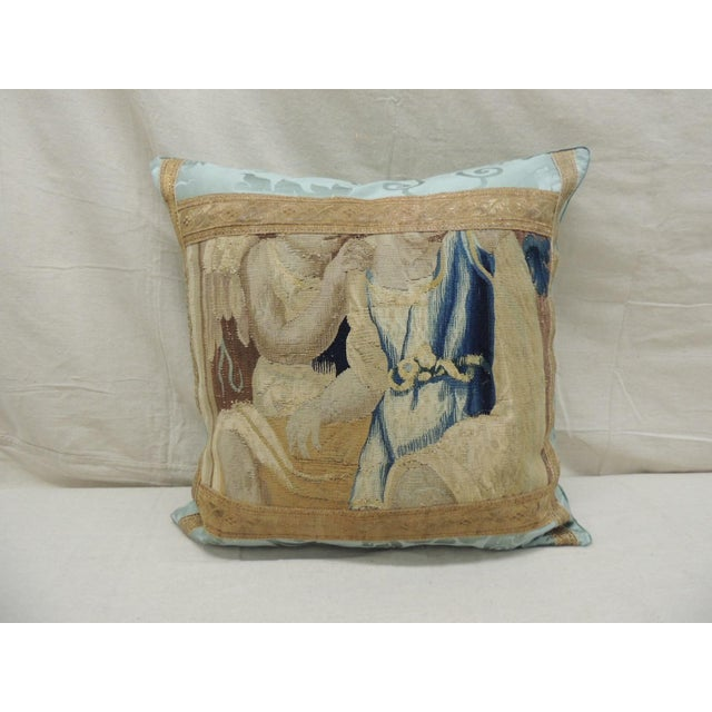 Antique Aubusson Tapestry Square Decorative Pillow For Sale - Image 9 of 9
