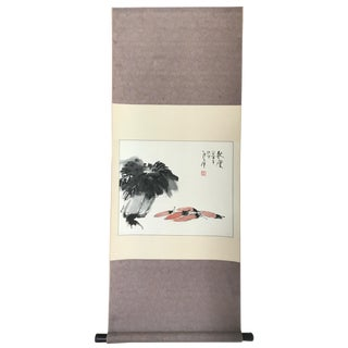 Vintage Chinese Scroll Painting of Shrimp & Bokchoy For Sale