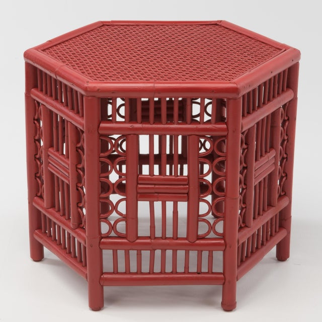 1970s Chinoiserie Hexagonal Bamboo Coffee Side Table For Sale - Image 4 of 12
